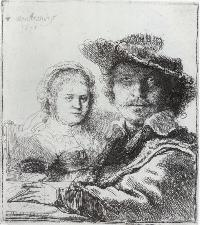 Rembrandt, drawing of him and his wife Saskia